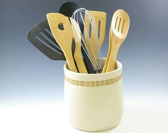 Wedding Pottery Gift,  Kitchen Utensil Holder, Bridal Shower Gift,  Tool Holder, Handmade Ceramic Crock, Kitchen Storage Jar, Rustic Decor