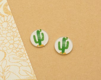 10pcs handmade cactus  round clear glass dome cabochons 12mm (12-0091)