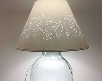 Extra Large Fillable Seashell Lamp - Fillable Lamp - Seashell Lamp - Fillable - Recycled Glass - Paper Lampshade - Large Table Lamp - Shells