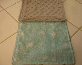 Elephants You Are My Sunshine Aqua and White with Gray Minky Baby Burp Cloth 7 x 20 READY TO SHIP On Sale