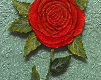 Red Rose Greeting Card Hand Painted Red Rose Card Valentine Card Painted Flowers Cards Red Roses