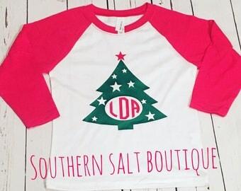 Youth Monogram Christmas TreeTee - Youth Raglan Monogram Tee - Christmas Tee - Christmas Tree Shirt