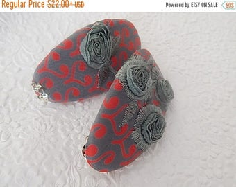 CLEARANCE - Turquoise red barrette, embroidered barrette, oval barrette,  fabric barrette, hair accessory, fashion accessory