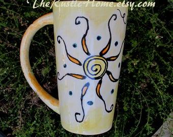 Sunshine mug large pottery mug spiral sun rustic pottery drinkware custom mug made to order mugs personalized or not you are my sunshine