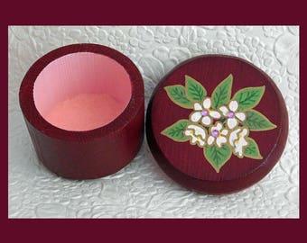 Red Velvet Trinket Box, Flower Trinket Box, Wood Trinket Box, Jewelry Holder, Unique Gift, Jewelry Organizer, Keepsake Gift Box, Flowers