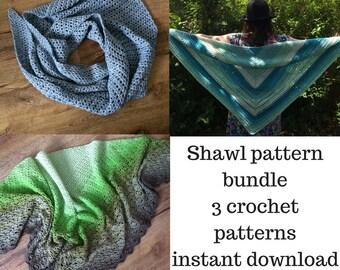 Crochet pattern bundle, 3 crochet shawl patterns, beginner, intermediate, yarn cake pattern, easy crochet shawl pattern, Christmas in July