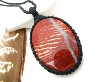 Red Jasper Necklace, Red Jasper jewelry, Jasper, Macrame pendant, Gemstone necklace, Gemstone pendant, Chakra jewellery, Earth Aura Creation