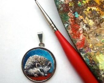 Pendant Hedgehog Pet Portrait Oil Painting, Ready to Ship