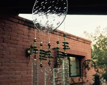 FLASH SALE Windchime Green Leaves Glass