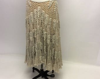 OOAK Long Handmade Ecru Cotton Crochet Full Circular Midi Skirt XL One of a kind