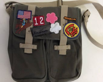 Patched Weathered Brooklyn Army Green Messenger Book Bag OOAK