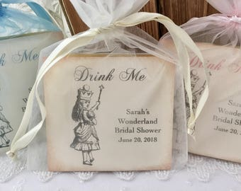 Alice in Wonderland Party Favors, Drink Me Favors, Set of 10 Fully Assembled Tea Favors Wedding Bridal Shower Baby Shower Birthday