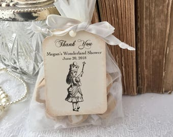 Alice in Wonderland Favor Bags, Alice Bridal Shower Favor Bags, Organza Bags and Tags, Set of 10