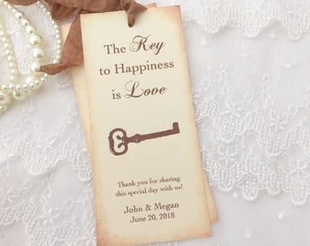 Key to Happiness Bookmarks, Key Bookmarks, Wedding Skeleton Key Bookmark Favors, Set of 10
