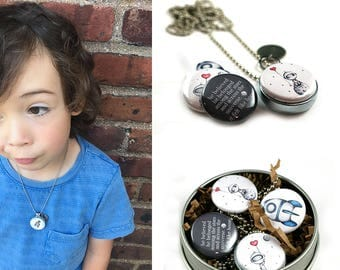 Astronaut Heart Balloon Moon Necklace • Astronaut Jewelry • Magnetic Locket • Switchable Lids • Spaceship • Outerspace • Sci Fi Gift Child