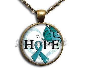 25% OFF - Hope Ovarian Cancer Awareness Glass Dome Pendant or with Chain Link Necklace WD155