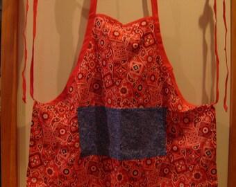Red bandanna print apron