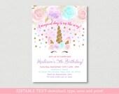 Unicorn Birthday Invitation / Unicorn Birthday Invite / Gold Glitter Unicorn / Floral Unicorn / Magical Day / EDITABLE PDF TEMPLATE A451