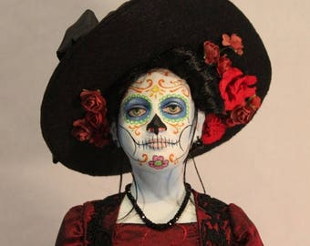ON SALE Day of the Dead Catrina art doll by William Bezek