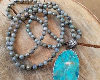 Mala Handknotted Necklace Labradorite Stone Necklace Turquoise Stone Focal Piece Drop Pendant