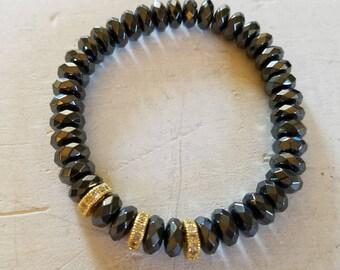 Hematite Elastic Bracelet Gold Accent