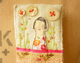 BROOCH Textile - a textile collage - girl - embroidered flowers