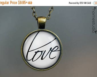 ON SALE - Love Script : Glass Dome Necklace, Pendant or Keychain Key Ring. Gift Present metal round art photo jewelry by HomeStudio valentin