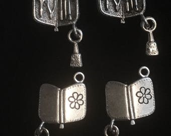 4 Silver Pewter Manicure Set Charms, Nail File Charms, Nail Clipper Charms, Nail Polish Charm  (qb145)