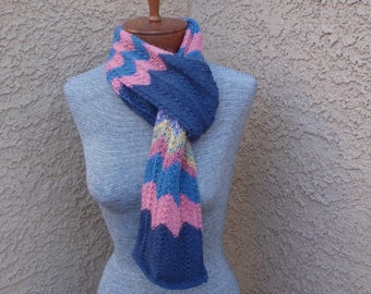 Multi color chevron scarf/zig zag scarf/hand knitted long scarf/multi-color knit scarf, wool blend scarf, woman's gift, colorful scarf, long