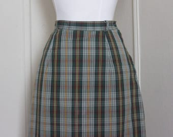vintage 1960s green plaid pencil skirt - juniorite, 26 inch waist , size small