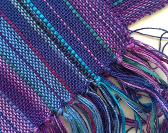 handwoven scarf in a refreshing blend of blues and purples