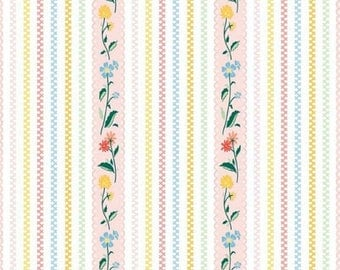 "ON SALE Penny Rose Fabrics ""Bunnies and Cream"" Pink Stripe"