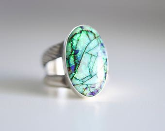 Monarch Opal ring. Sterling silver ring with Monarch Opal. Monarch Opal cabochon, Cultured Opal ring, blue opal ring, green opal ring.