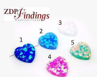 10mm Opal Heart Bead Charm Pendant bracelet Lab Created, Choose Your Color (OPHR10V)