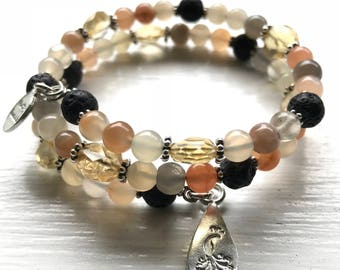 Citrine and Moonstone Essential Oil Diffuser Gemstone Fully Adjustable Bracelet w/ Sample Essential Oil Aromatherapy Blend