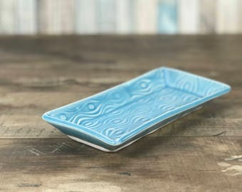 Butter dish, Blue butter dish, porcelain butter dish, in contour pattern. Ceramic butter dish, blue kitchen accessory, handmade butter dish.