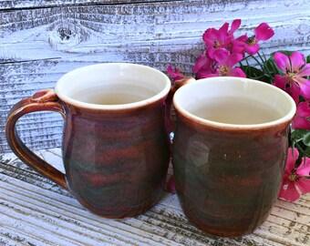 Plum Flannel Coffee Mug Set - Coffee Mug Pottery, Coffee Lovers Gift, Pottery Mug Set, Handmade Mug Set, Stoneware Mug Set