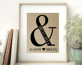 Ampersand Wedding Gift   Personalized Burlap Print   Bride and Groom   Anniversary Gift for Couple   Rustic Wedding Decor   Names and Date