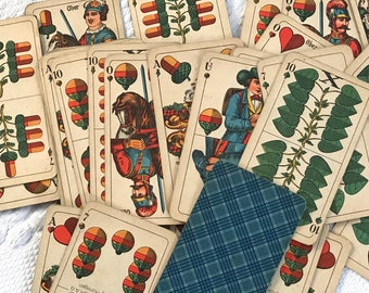 German Card Game . gaiglekarte . 1940s card came . altenburger und stralsunder spielkarten . binokel cards