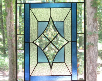 """Stained Glass Panel, Beveled Center and Outer Border, Light Blue and Clear Background and Darker Blue Inner Border 13.5"""" x 18.5"""""""