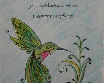 Hummingbird Mixed Media Watercolor and Ink Original Painting