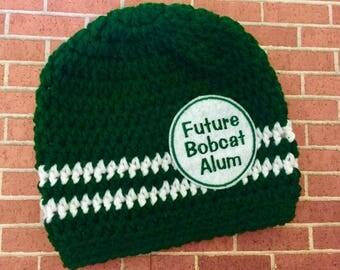 Baby // Crochet Hat // Ohio College // Team Color // Bobcats // Handmade // Future Bobcat Alum // Green and White