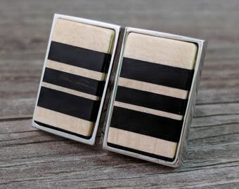 Modern Striped Cufflinks Handcrafted from American Holly and African Ebony wood in Silver Rectangular Bezel