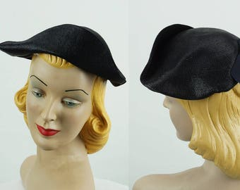 Vintage 1930s Hat NOS NWT Black Straw Tilt Tricorn Cap Sz 22