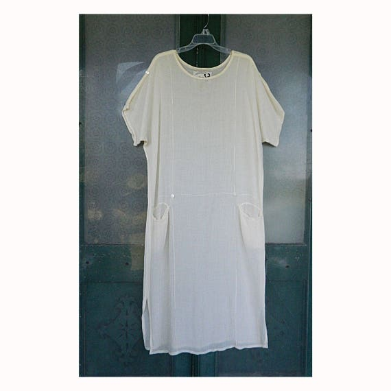 Angelheart Designs Engelhart 1920s-Retro Short-Sleeve Sheer Risque Dress -S- Ivory Rayon/Ramie