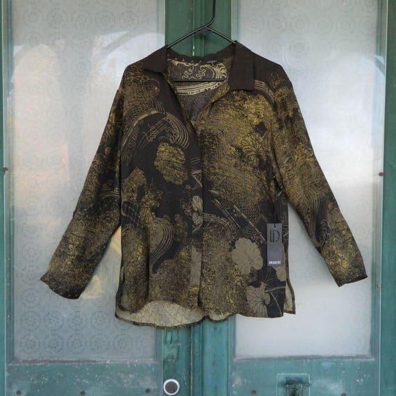 Dressori Long-Sleeve Blouse -S- Brown/Green Asian-style Print Silk NWT