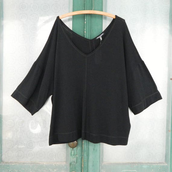 Cable & Gauge Deep V Pullover Sweater -2X- Black Poly/Rayon/Spandex Knit NWT