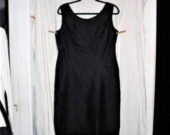 Vintage 60s Black Acetate Shift Dress 18 Sleeveless Handmade