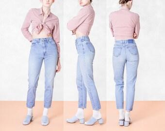 GUESS JEANS high waist SKINNY vintage denim 90S light wash pants mom / Size 5 / 27 28 waist /