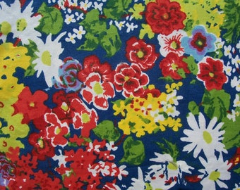 Vintage Cotton Fabric BLOOMCRAFT SCREEN PRINT Floral Bright 49 x 52